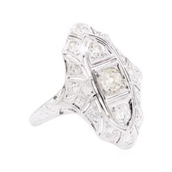 0.95 ctw Diamond Vintage Ring - 18KT White Gold