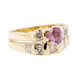 0.90 ctw Pink Sapphire and Diamond Ring - 14KT Yellow Gold