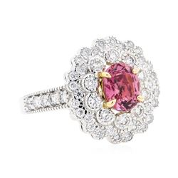 1.85 ctw Pink Saphire And Diamond Ring - 18KT White And Rose Gold