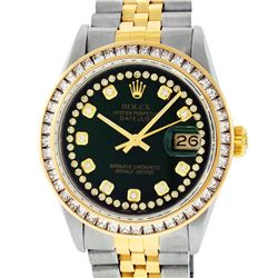 Rolex Mens 2 Tone 14K Green String Princess Cut Diamond Datejust Wristwatch