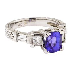 2.31 ctw Tanzanite And Diamond Ring - 14KT White Gold