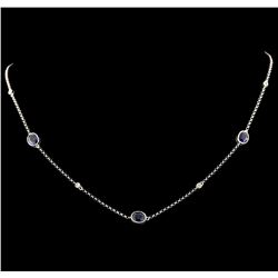 2.50 ctw Sapphire and Diamond Necklace - 18KT White Gold