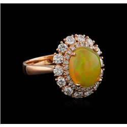 2.27 ctw Opal and Diamond Ring - 14KT Rose Gold