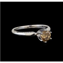 14KT White Gold 0.80 ctw Round Cut Fancy Brown Diamond Solitaire Ring