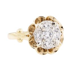 1.00 ctw Diamond Ring - 14KT Yellow and White Gold