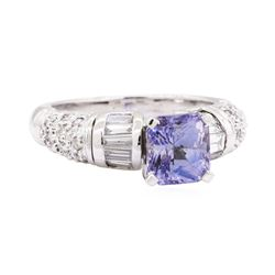 2.85 ctw Sapphire And Diamond Ring - 14KT White Gold