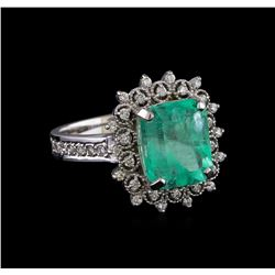 3.90 ctw Emerald and Diamond Ring - 14KT White Gold