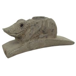 Carved Stone Effigy Pipe