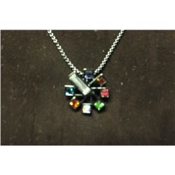 """Multi color swarovski crystals on ferris wheel style pendant set in hematite on 17"""" necklace with 2"""""""