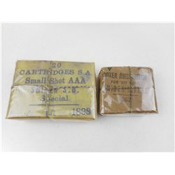 BOXER AMMUNITION FOR .577 BORE SNIDER RIFLES, CARTRIDGES S.A. SAMLL SHOT AAA SNIDER S.B. SPECIAL PKG