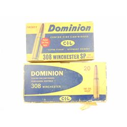 ASSORTED DOMINION 308 WIN AMMO AND BRASS