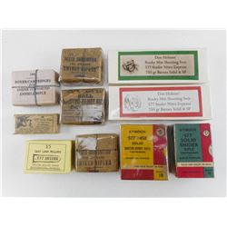 10 COLLECTOR AMMO BOXES, DATED FROM 1867-1886