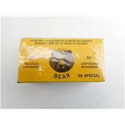 BEAR INDUSTRIES 38 SPECIAL 50 RELOADED CARTRIDGES, COLLECTOR BOX