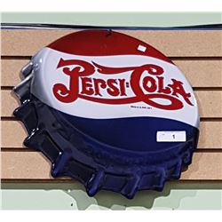EMBOSSED PEPSI-COLA TIN BOTTLECAP SIGN