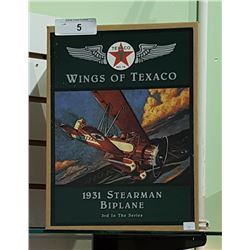 NIB WINGS OF TEXACO 1931 STEARMAN BIPLANE DIE CAST COIN BANK
