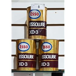 3 VINTAGE ESSOLUBE XD3 OIL QUARTS