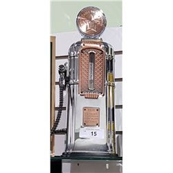 CHROME AND COPPER GAS PUMP BEVERAGE DISPENSER