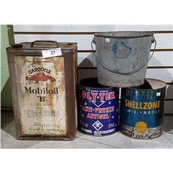 4 VINTAGE OIL AND ANTIFREEZE TINS