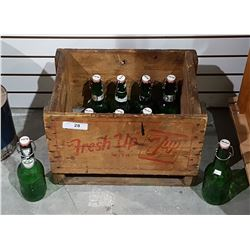 VINTAGE 7-UP WOOD POP CRATE W/10 VINTAGE GROLSCH BEER BOTTLES