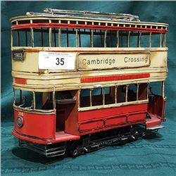 TIN DOUBLE DECKER TROLLEY CAR