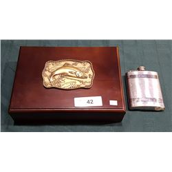 WOOD KEEPSAKE BOX W/FISHING MOTIF & FLASK