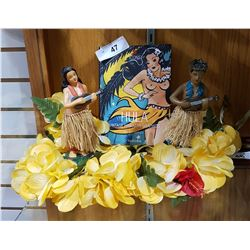 PAIR OF DANCING HULA FIGURES, HULA BOOK & LEI