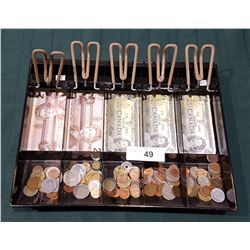 MONEY TRAY W/WORLD COINS & TWO 1986 CANADIAN $2 BILLS & THREE 1973 CANADIAN $1 BILLS