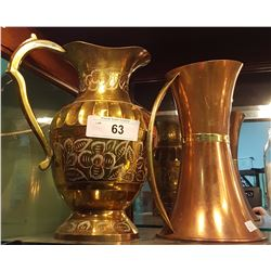 ETCHED BRASS PITCHER AND BRASS AND COPPER PITCHER