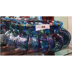 14 PC BLUE CARNIVAL GLASS PUNCH BOWL SET