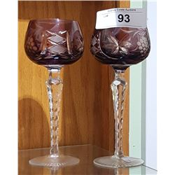 PAIR OF AMETHYST CUT-TO-CLEAR WINE GLASSES