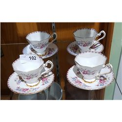 "SET OF 4 ROYAL STAFFORD ""WINDERMERE"" BONE CHINA TEACUPS & SAUCERS"