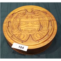 NATIVE CARVED CEDAR BOX SIGNED CLARENCE WELLS