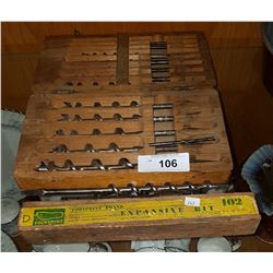 VINTAGE DRILL BITS IN FITTED CASE
