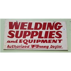 VINTAGE DOUBLE SIDED WELDING SUPPLIES METAL SIGN