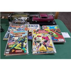 2 DIE CAST CARS & COLLECTION OF COMICS