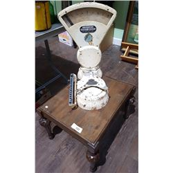VINTAGE EXACT WEIGHT STORE SCALE ON TABLE