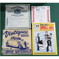 BOX LOT OF COLLECTIBLE EPHEMERA AND COFFEE TABLE BOOK