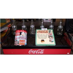 COCA-COLA STORE DISPLAY RACK W/ BOTTLES AND TINS