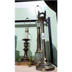 3 VINTAGE BRASS TABLE LAMPS