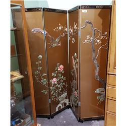 4 PANEL ASIAN SCREEN W/ APPLIED TINTED MARINE IVORY