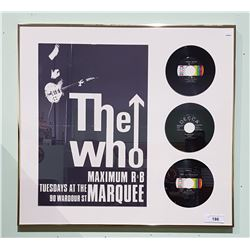 FRAMED CONCERT POSTER OF THE WHO W/THREE 45'S