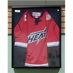 ABBOTSFORD HEAT HOCKEY JERSEY MOUNTED IN SHADOW BOX