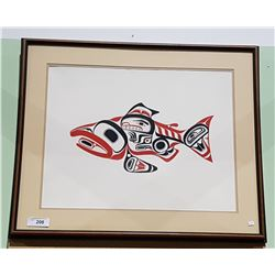 LARGE FRAMED NATIVE ART PRINT OF SALMON