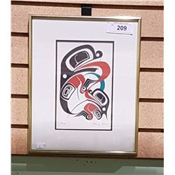 FRAMED NATIVE ART PRINT OF FROGS