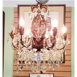 VINTAGE WROUGHT IRON AND CRYSTAL DROP CHANDELIER