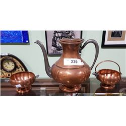 VINTAGE 3 PC COPPER TEA SET W/ PEWTER, HANDLES AND SPOUT