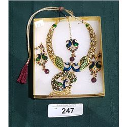 3 PC ENAMEL NECKLACE AND EARRING SET W/PEACOCK PATTERN