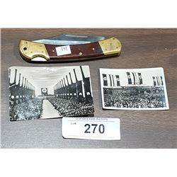 2 ORIGINAL WWII NAZI PHOTOGRAPHS & VINTAGE BRASS/WOOD HANDLE POCKET KNIFE