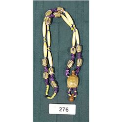 VINTAGE NATIVE BEAD NECKLACE MADE OF TRADE BEADS, BONE, AND AMETHYST