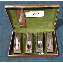 4 VINTAGE HOHNER MARINE BAND HARMONICAS IN CASE